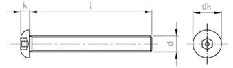 Эскиз винта М2,5х6 с полукруглой головкой и внутренним шестигранником